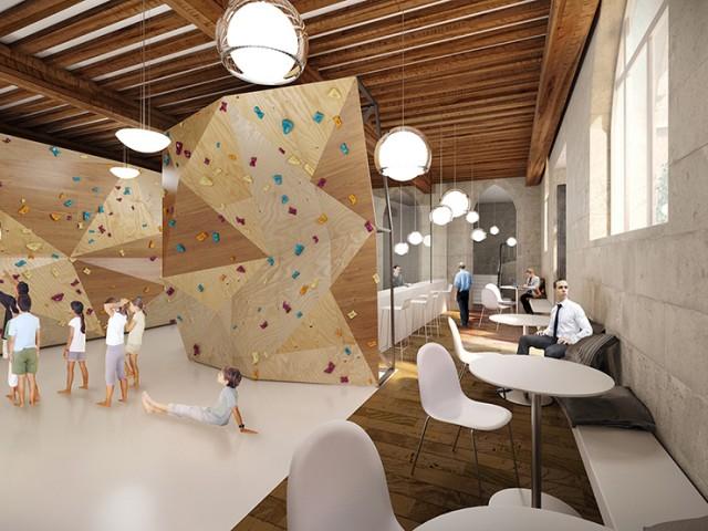 Salle d'escalade, espace de co working & logements sociaux